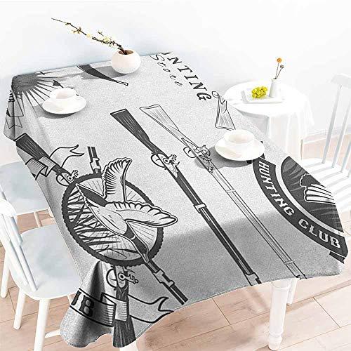 (EwaskyOnline Fashions Rectangular Table Cloth,Hunting Hunting Store and Club Labels Duck Goose Mallard Shotgun Rifles Reed Bed Print,Fashions Rectangular,W60x120L,Grey White)