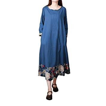 Women Plus Size Folk-Custom Loose Long Sleeves Splicing Cotton And Linen Dress@Gowns