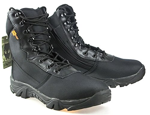 Worldshopping4U Men Military Army Tactical Outdoor Sports Camping Hiking Work Combat Lace Up Breathable High Top Side Zipper Desert Leather Shoes Boots Black BK N6paLhd