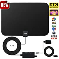 Amplified HD Digital TV Antenna,Skywire TV Antenna 80 Miles Range, Support 4K 1080P, All Older TVs Indoor Amplified Digital TV Antennas Switch Console, Signal Booster USB Power Supply