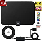 Amplified HD Digital TV Antenna,Skywire TV Antenna 80 Miles Range, Support 4K 1080P, All Older TV's Indoor Amplified Digital TV Antennas Switch Console, Signal Booster USB Power Supply