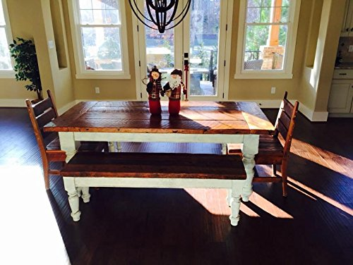 8 Foot Heart Pine Farmhouse Table Set