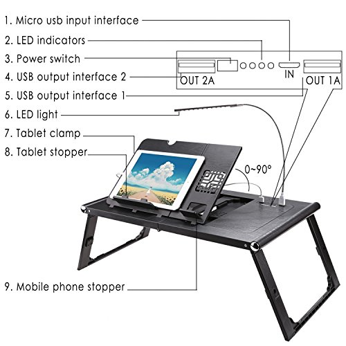 Adjustable Smart Table Folding Laptop Table with Built-in Rechargeable Power Bank and 2USB Ports by Dtemple (Image #4)