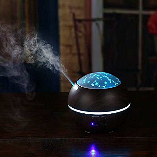 Hengnuo Humidifier Essential Oil Diffuser Moon & Star Light - 200ML Capacity Ultrasonic Humidifier With Wood Grain Projection Home Indoor Decoration For Office, Bedroom, Baby, Yoga, Spa, Cub