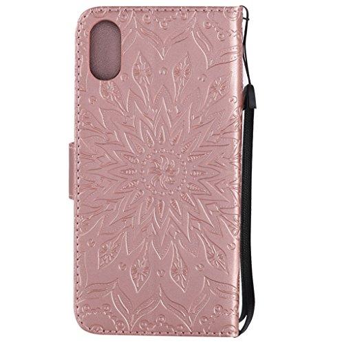 Trumpshop Smartphone Carcasa Funda Protección para Apple iPhone 8 (4.7 Pulgada) [Gris] 3D Mandala PU Cuero Caja Protector Billetera Choque Absorción Oro Rosa
