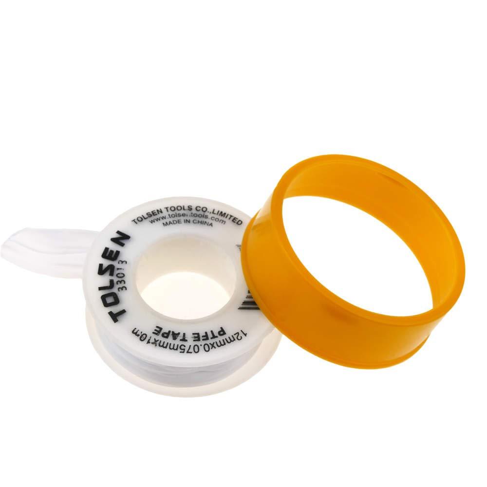 Tolsen Cinta de Sellado PTFE Blanca 12 mm x 0.75 mm en Bobina de 10 m