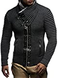 Leif nelon LN5165 Mens Cardigan With Stud Details and Zip Front,Anthracite Black,US-M,EU-L
