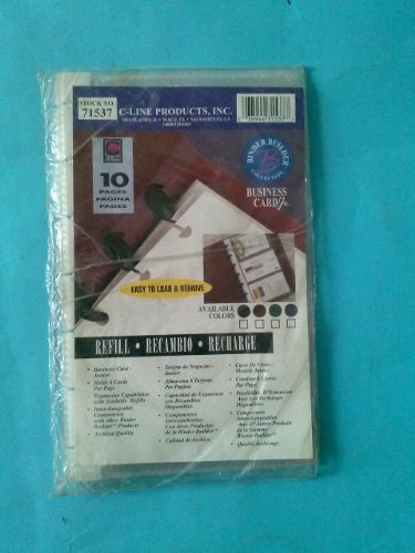 C-Line, 71537, Business Card Jr., Binder Builder Collection, 10 Pages, Refill, Each Page Holds 6 Cards