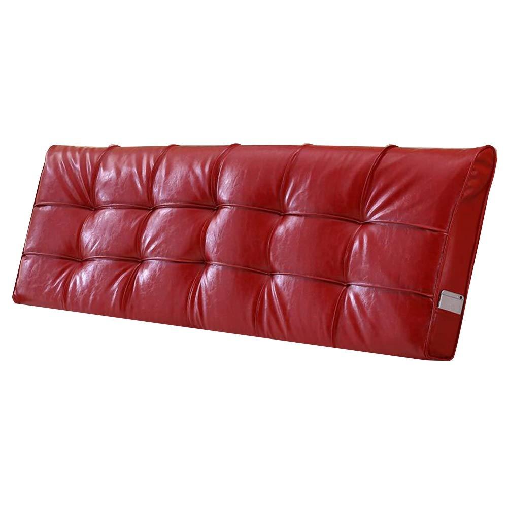 LIANGLIANG クションベッドの背もたれ ダブルエクストララージ ウエストパッド ラジアンデザイン 衝突防止 ベッドサイド 柔らかい PU 、3色、21サイズ (色 : Red, サイズ さいず : 170x58x10cm) 170x58x10cm Red B07PCQK71Z