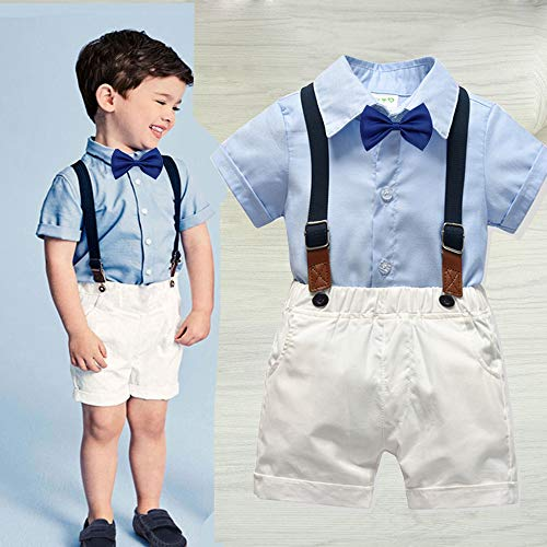 Carlstar Little Boys Gentleman Outfit Suits,Baby Boys Short Pants Set,Short Sleeve Shirt+Suspender Pants+Bow Tie 4Pcs (Blue, 1-2T/80) ()