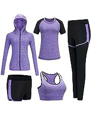 BOTRE Trainingspak voor dames, yogakleding, pak van 5 sportpak, joggingpak, gym, fitness, loopkleding, sportswear, sport, yoga, outfit voor dames, beha leggings