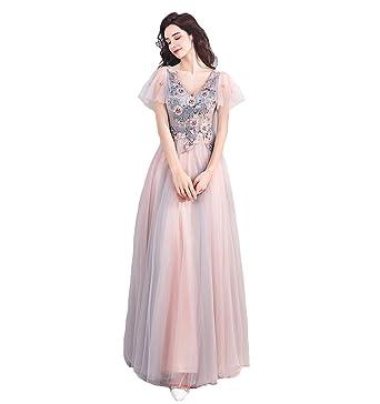 Angel Women Long Pink Evening Dress Floral Flower Evening