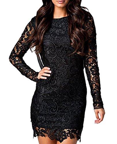 Backless Long Black Mini Chiffon Women Coolred Lace Bodycon Dress Sleeve Trim vawqXA