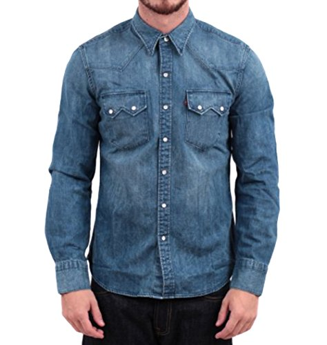 Levi's Men's Sawtooth Western Denim Snap Shirt, Authentic Stonewash, ()