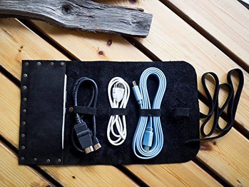 a2ebeb131e6b Amazon.com: Personalized Handmade Leather Cord Wrap with Pocket, Leather  Cable Organizer, Cord Roll, Cord Organizer, Grain Leather, Hand Stitched:  Handmade