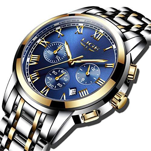 Mens Watches Fashion Stainless Steel Analog Quartz Watch Men Sports Waterproof Watches Chronograph Luxury Brand LIGE Casual Wrist Watch Gold Blue Date Clock