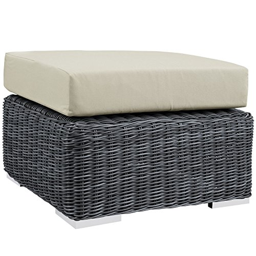 Country Outdoor Ottoman - Modway Summon Outdoor Patio Ottoman With Sunbrella Brand Antique Beige Canvas Cushions