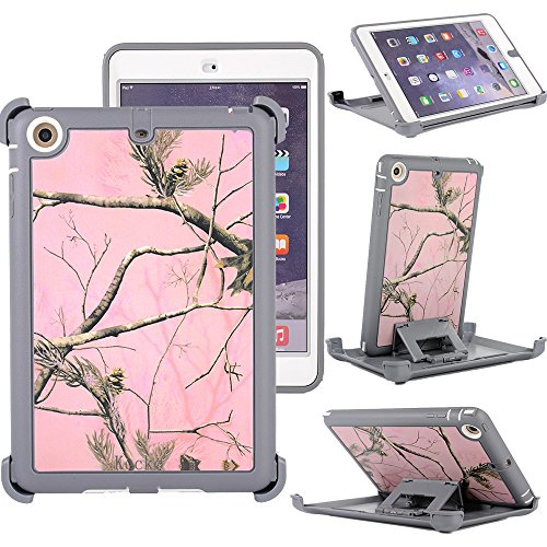 Kecko3-layer Heavy Duty Defender Military Grade Natural Tree Camo Impact Resistant Tough TPU Full Body Protective Built-in Screen Protector Camouflage Case Skin w/ Kickstand for ipad mini 1/2/3