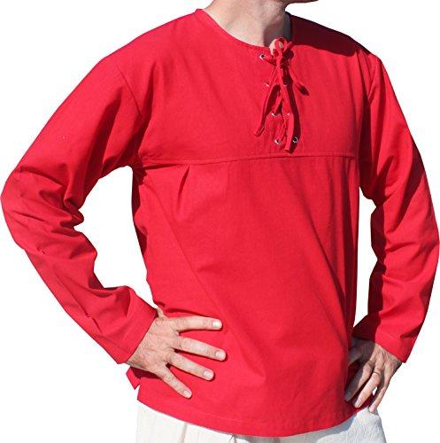 Raan Pah Muang Cotton Open Collar Renaissance Shirt Long Sleeve Plus Size