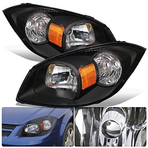 Fits Chevy Cobalt Pontiac G5 Pursuit Black Housing Clear Lens Amber Reflector Headlight Head Light Lamp Upgrade Replacement LH RH Left Right ()