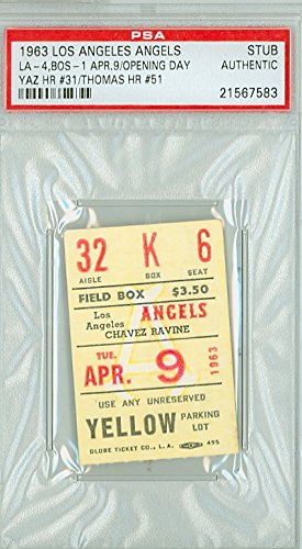 1963 Los Angeles Angels Ticket Stub vs Boston Red Sox OPENING DAY Carl Yastrzemski HR #31 April 9, 1963 [[Grades clean Ex/Mt]] by Mickeys Cards