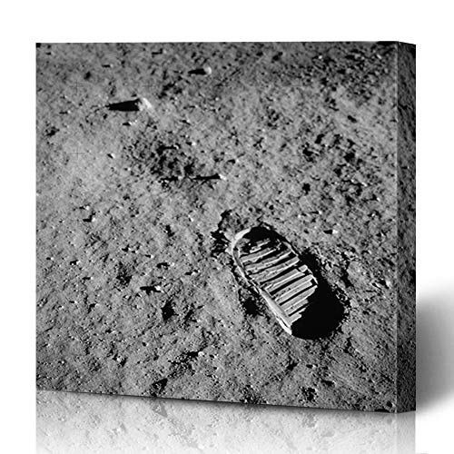 (Ahawoso Canvas Prints Wall Art 12x16 Inches Lunar Footprint Apollo 11 Boot Moon Century Space NASA Impression 20Th Design Science Decor for Living Room Office Bedroom )