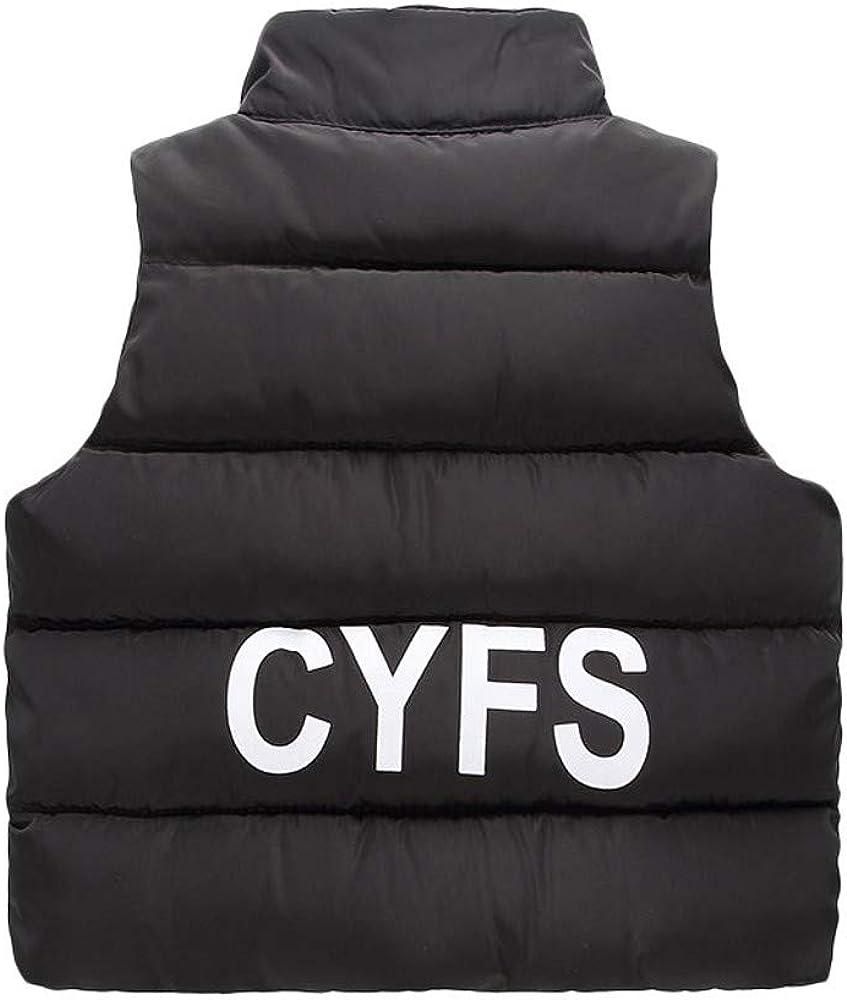 kaiCran Kids Baby Coat Vest Winter Cotton Warm Unisex Infant Letter Thick Jacket Outerwear