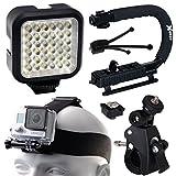 Opteka xGrip Stabilizing Action Grip Handle Handheld Holder (Black), LED Light, Head Strap, Bike Bicycle Handlebar Seatpost Mount, Dust Removal Cleaning Kit for GoPro Hero4 Hero3+ Hero3 Camera