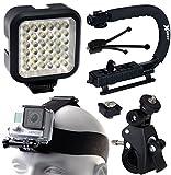 Opteka xGrip Stabilizing Action Grip Handle Handheld Holder (Black) - LED Light - Head Strap - Bike Bicycle Handlebar Seatpost Mount - Dust Removal Cleaning Kit for GoPro Hero4 Hero3+ Hero3 Camera