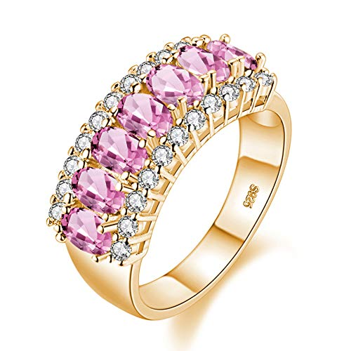 Uloveido Gold Plated 7 Stone Mothers Ring Oval Cut Pink Cubic Zirconia Half Eternity Band Ring Wedding Party Jewelry Gifts for Women (Size 6, Pink) ()