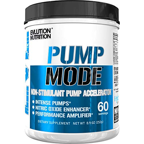 Evlution Nutrition Pump Mode Nitric Oxide Booster to Support Intense Pumps, Performance and Vascularity (60 Servings, Unflavored)