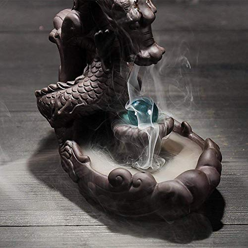 Dragon Incense Holder, Ceramic Backflow Incense Burner Figurine Incense Cone Holders Home Decor Gift Decorations Statue Ornaments with Blue Bead 10 Free Incense Cones