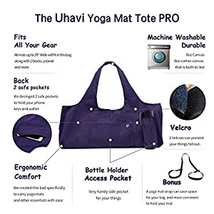 Uhavi Yoga Mat Bag Large Yoga Mat Tote Sling Carrier with 4 Pockets 2 VELCROS Fits Mats With Multi-Functional Storage Pockets Light And Durable(With Yoga Mat Carrying Strap) (purple)