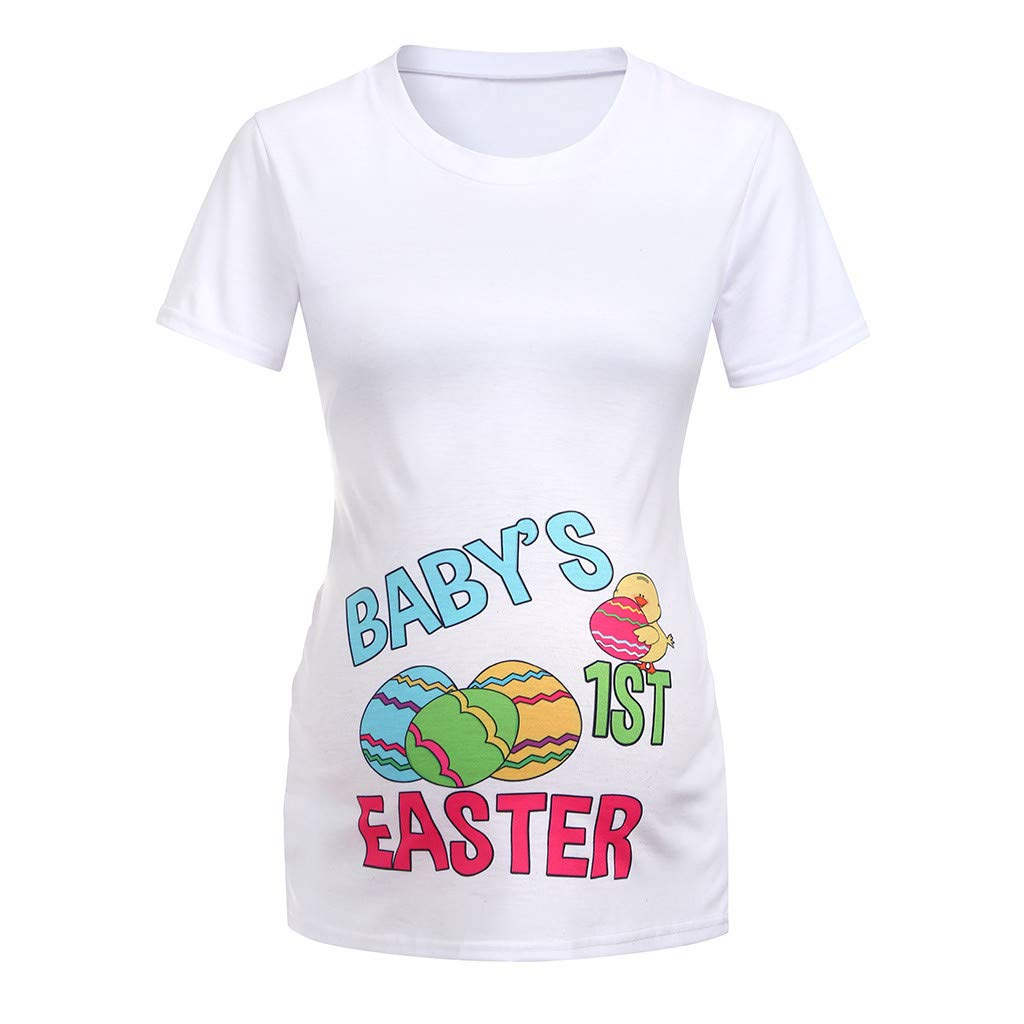 Women Maternity Short Sleeve Easter Letter Print Tops T-Shirt Pregnancy Clothes Maternity Blouse