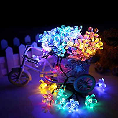 ADDLON Solar LED String lights (10-clip included) decorative lighting,23ft(7m) 50 LED 8work Modes,Blossom Ambiance lighting for Outdoor, Garden, Home, Wedding, Christmas party, Waterproof (Multicolor)