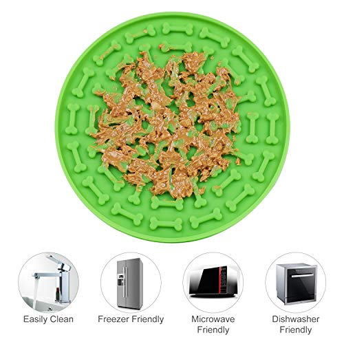 LEACOOLKEY Dog Lick Mat Treater Mat Calm Dog Lick Pad Relieve Anxiety Peanut Butter Lick Mat for Pet Bathing, Grooming, and Dog Training with Strong Suction (A-Green)