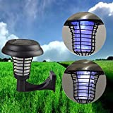 Katoot@ UV LED Solar Powered Outdoor Yard Garden Lawn Light Anti Mosquito Insect Pest Bug Zapper Killer Trapping Lantern Lamp