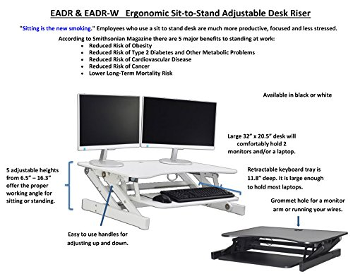 Rocelco Adr Basic Height Adjustable Sit Stand Desk