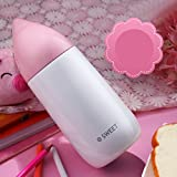 Pink Water Drop Style Cute Kids Stainless Steel Insulated Travel Mug 400Ml