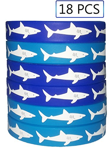Shark Party Favors Rubber Wristbands Bracelets - Under the Sea/Pool/Beach/Kids Birthday Party Supplies Gifts Decorations