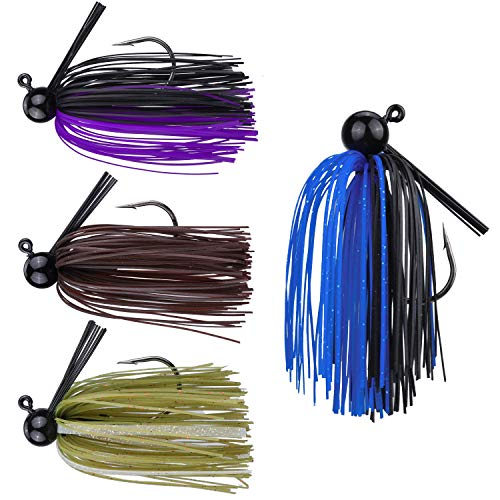 RUNCL Anchor Box - Football Jigs, Bass Fishing Jigs 1/2oz - Silicone Skirts, Spike Trailer Keeper, Streamlined Football Head, Weedguard System, Proven Colors - Fishing Lures (Pack of 4) ()