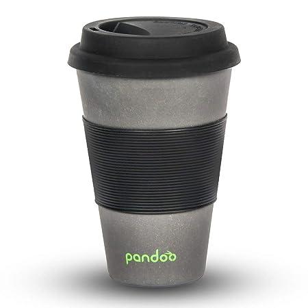 Pandoo Taza de café para Llevar, Bambú, Negro, 450 ml: Amazon.es ...