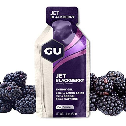 GU Energy Original Sports Nutrition Energy Gel, Jet Blackberry, 24-Count Box