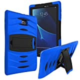 Galaxy Tab A 8.0 Case KIQ ™ Full-body Shock Proof Hybrid Heavy Duty Armor Protective Case for Samsung Galaxy Tab A 8.0 [SM-T350] with Kickstand and Screen Protector (Armor Blue)