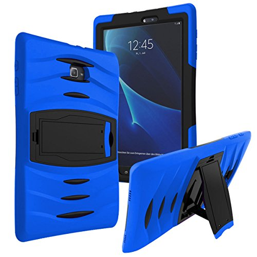KIQ (TM) SM-T560 9.6-Inch Shockproof Heavy Duty Military Armor Hybrid Case Cover for Samsung Galaxy Tab E (Armor Blue)
