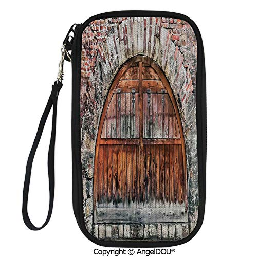 PUTIEN Travel Document Organizer Credit Card Clutch Bag Photograph of A Brick Stone Rampart with Oval Gate with Dated Ancient Materials Art Print for Men Women.