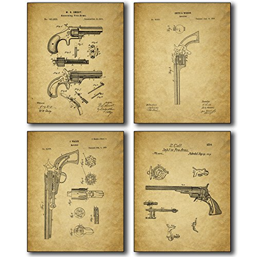 Bigwig - Gun Patent Wall Art Prints - Set of Four Antique Firearm Photos - Smith and Wesson - Samuel Colt