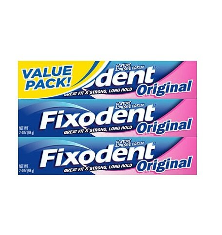 Fixodent Denture Adhesive Cream, Original 2.4 Oz by Fixodent (Pack of 3)