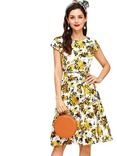 Floerns Women's Floral Ruffle Sleeve Tie Waist Summer Chiffon Dress Multi XS (Chiffon Dress Multi)