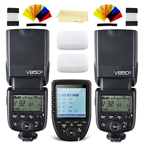 2xGodox V850II GN60 2.4G 1/8000s HSS Camera Flash Speedlight with 2000mAh Li-ion Battery+Godox XPro-S Wireless Flash Trigger Transmitter Compatible for Sony Cameras